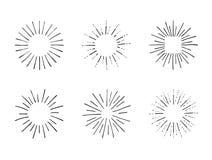 传染媒介套减速火箭的样式框架,手拉的设计元素集,黑线象 库存例证