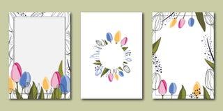传染媒介套创造性的春天普遍花卉卡片 皇族释放例证