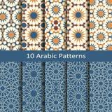 传染媒介套十个无缝的传统阿拉伯几何样式 盖子的设计,纺织品,包装 库存照片