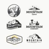传染媒介套原野和自然室外葡萄酒商标、象征、剪影和设计元素 向量例证
