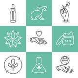 传染媒介套商标、徽章和象自然eco友好的手工制造产品的,有机化妆用品,素食主义者和 库存例证