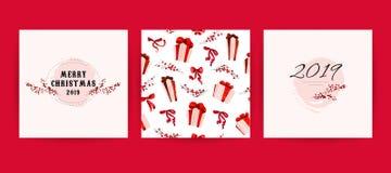 传染媒介套圣诞快乐庆祝祝贺卡片、样式、党邀请和pac的水彩手拉的卡片 免版税库存图片