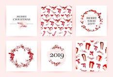 传染媒介套圣诞快乐庆祝祝贺卡片、样式、党邀请和pac的水彩手拉的卡片 免版税库存照片