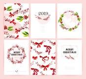 传染媒介套圣诞快乐庆祝祝贺卡片、样式、党邀请和pac的水彩手拉的卡片 库存图片