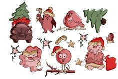 传染媒介套圣诞节和新年标志 库存例证