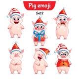 传染媒介套圣诞节猪字符 2件装饰品设置了 库存照片