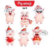 传染媒介套圣诞节猪字符 集4 库存图片