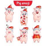 传染媒介套圣诞节猪字符 集5 免版税库存照片