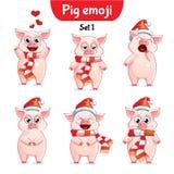 传染媒介套圣诞节猪字符 集1 免版税库存照片