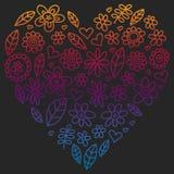 传染媒介套在乱画样式的儿童画的花象 绘,五颜六色,在一张纸的梯度图片在黑板的 库存例证