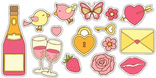 传染媒介套在桃红色的颜色的爱情故事和黄色 设计的邀请的婚礼那天,对t的问候一个贴纸 向量例证