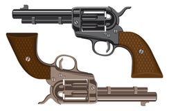 传染媒介套在白色背景的大左轮手枪 库存例证