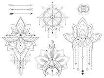 传染媒介套在白色背景的神圣的几何和自然标志 抽象神秘主义者签署汇集 黑线性形状 库存例证
