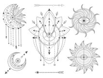 传染媒介套在白色背景的神圣的几何和自然标志 抽象神秘主义者签署汇集 向量例证