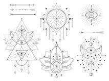 传染媒介套在白色背景的神圣的几何和自然标志 抽象神秘主义者签署汇集 皇族释放例证