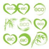传染媒介套在白色背景的绿色eco象 向量例证