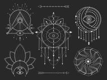 传染媒介套在黑背景的神圣的几何和自然标志 抽象神秘主义者签署汇集 白色线性形状 皇族释放例证