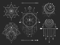 传染媒介套在黑背景的神圣的几何和自然标志 抽象神秘主义者签署汇集 皇族释放例证