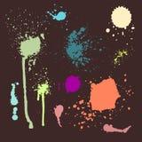 传染媒介套墨水飞溅污点泼溅物汇集难看的东西设计元素和艺术杂乱背景颜色肮脏的液体 图库摄影