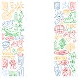 传染媒介套学会英语语言,在乱画样式的儿童的画的象 绘,五颜六色,在a的图片 皇族释放例证
