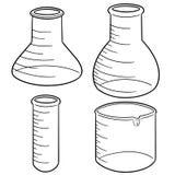 传染媒介套实验室玻璃器皿 库存图片