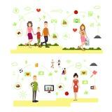 传染媒介套家庭人标志,在平的样式的象 向量例证