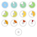 传染媒介套平的有数字的颜色圆的拨号盘时钟 库存例证