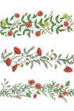 传染媒介套庭园花木与风格化玫瑰,雏菊,康乃馨,迷迭香的样式刷子 E 向量例证