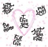 传染媒介套手写的关于爱的字法正面行情对情人节 免版税库存照片