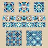 传染媒介套摩洛哥瓦片和边界 色的样式的汇集设计和时尚的 库存图片
