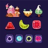传染媒介套机动性/计算机游戏的财产 逗人喜爱的华而不实的屋,各种各样的形状焦糖糖果,甜树和 免版税库存照片