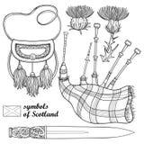 传染媒介套概述苏格兰标志:在白色在黑隔绝的长的匕首或短剑、风笛、毛皮袋和蓟花 库存例证