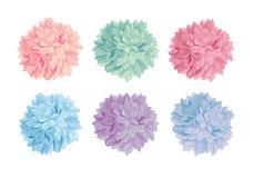 传染媒介套淡色五颜六色的生日聚会纸Pom Poms 伟大为手工制造卡片,邀请,墙纸,包装 免版税图库摄影