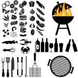 传染媒介套烤肉和烤食物 向量例证