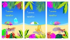 传染媒介套社会媒介故事设计模板,与拷贝空间的背景文本的-夏天风景 向量例证