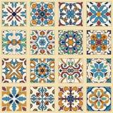 传染媒介套葡萄牙瓦片 色的样式的汇集设计和时尚的 免版税库存图片