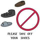 传染媒介套请离开您的鞋子标志 库存照片