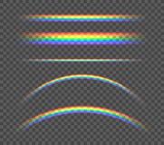传染媒介套透明彩虹,不同的形状五颜六色例证发光 向量例证