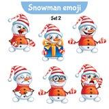 传染媒介套逗人喜爱的雪人字符 2件装饰品设置了 库存照片