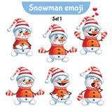 传染媒介套逗人喜爱的雪人字符 集1 免版税图库摄影