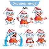 传染媒介套逗人喜爱的雪人字符 集3 免版税库存图片