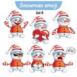 传染媒介套逗人喜爱的雪人字符 集4 免版税库存照片