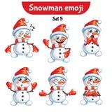 传染媒介套逗人喜爱的雪人字符 集5 免版税库存图片