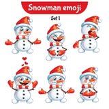 传染媒介套逗人喜爱的雪人字符 集1 免版税库存图片