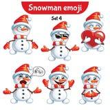 传染媒介套逗人喜爱的雪人字符 集4 库存图片