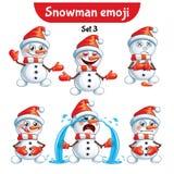 传染媒介套逗人喜爱的雪人字符 集3 免版税库存照片