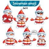 传染媒介套逗人喜爱的雪人字符 集4 库存照片