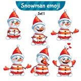 传染媒介套逗人喜爱的雪人字符 集1 图库摄影