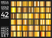 传染媒介套金子梯度,金黄正方形收藏,构造小组 免版税库存图片