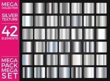 传染媒介套银色梯度,银色正方形收藏,构造小组 库存照片